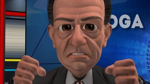 Le personnage animé de Jean-Luc Mongrain fronce ses sourcils et serre ses dents.