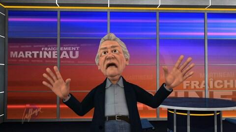 Le personnage animé de Richard Martineau a la bouche ouverte et les deux mains levées vers le ciel.