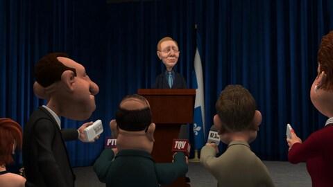 Le personnage animé de Jean-François Lisée parle aux journalistes derrière un lutrin.