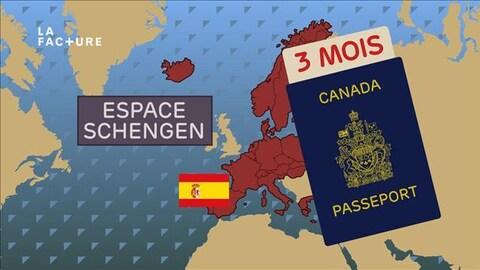 """Infographie d'une carte de l'Europe et l'illustration d'un passeport canadien avec la mention """"3 mois"""""""