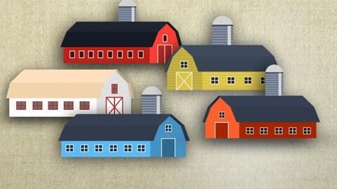 Illustrations de 5 granges avec silos