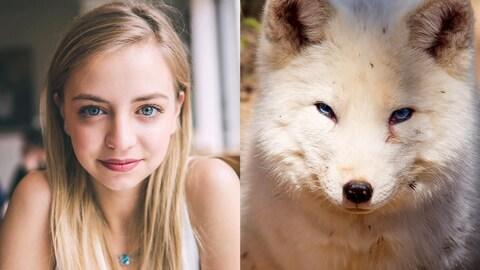 Ludivine et le renard ont tous les deux les yeux bleus. Elle est blonde et porte une camisole blanche. Le renard a un pelage crème.