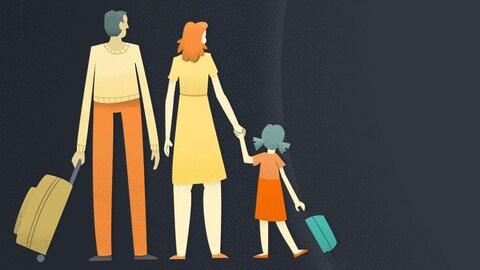 Illustration d'une famille d'immigrants avec leurs valises