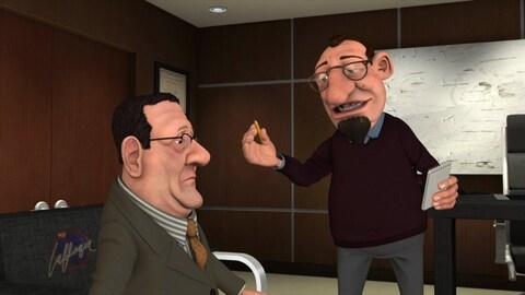 Le personnage animé de Régis Labeaume est assis dans le bureau du psychologue.