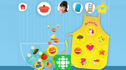 Une image avec Ari Cui Cui, un tablier, des icônes avec des aliments et des ustensiles de cuisine. Cuisine-surprise est une appli amusante pour les petits enfants.