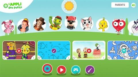 Une image de l'appli avec des personnages jeunesse (Chirp, Bookaboo...), un soleil et beaucoup de joie