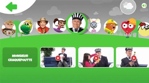 On voit une image avec Monsieur Favori (la mascotte), et des personnages jeunesse : Craquepoutte, Parka, Mia la souris....