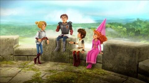 Arthur et ses amis discutent pour prendre une décision. Ils sont assis tout en haut de la tour du château.