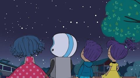 Il fait nuit. Dot et ses trois amis observent le ciel étoilés. Ils sont de dos.