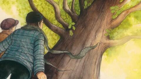 Deux jeunes regarde un arbre