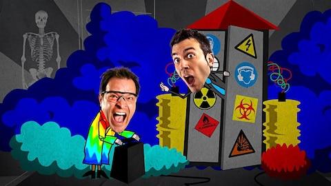 Dans un décor de dessins animés, Yannick Bergeron déclenche une bombe et Daniel Coutu sort la tête d'une machine. Les deux crient.