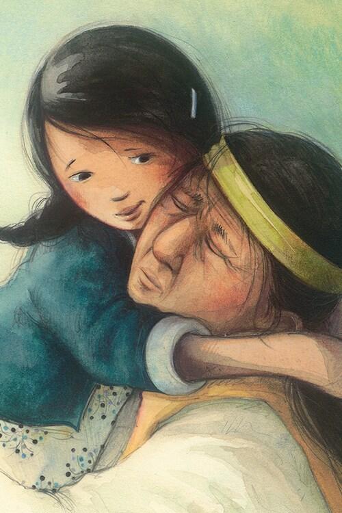 Couverture du livre Les mots volés, de Melanie Florence. On y voit une petite fille crie enlacer son grand-père.