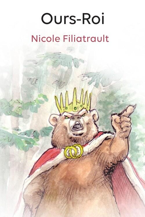 Illustration d'un ours portant une couronne et une cape, levant un doigt vers le ciel, les yeux