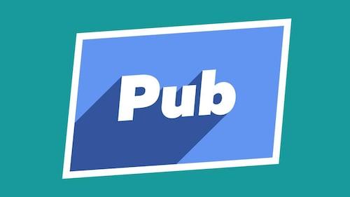 Le mot pub écrit sur fond bleu
