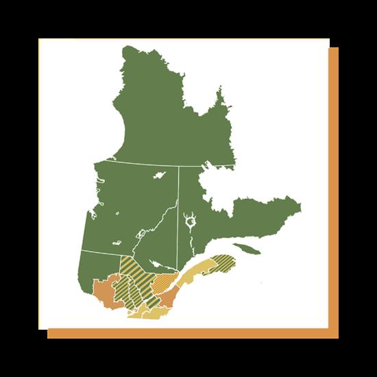 La carte du Québec séparée en zones colorées.