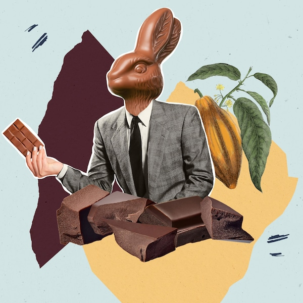 Photomontage d'un lapin en chocolat habillé en costume qui tient une barre de chocolat.