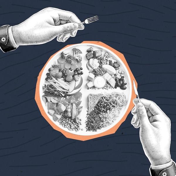 Un collage de mains blanches s'apprêtant à manger l'assiette du guide alimentaire dont les couleurs ont été enlevées.
