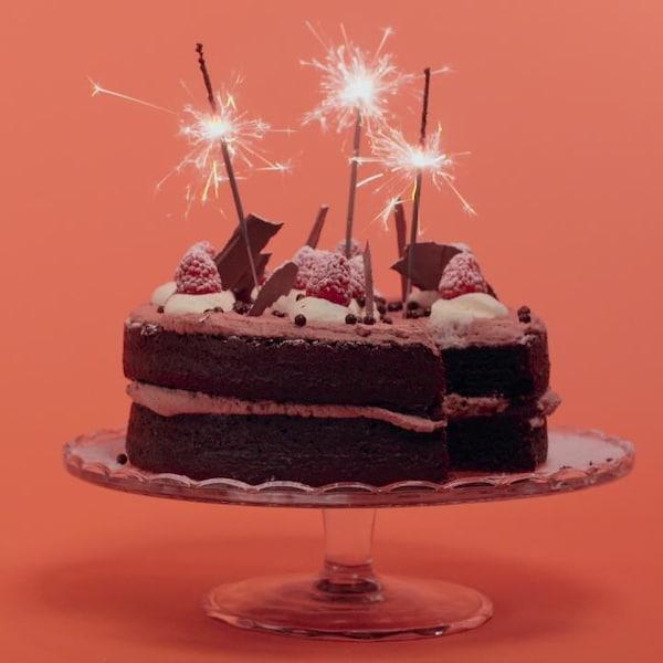 Un gâteau au chocolat garni de crème fouettée, de framboises et de copeaux de chocolat.