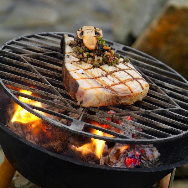 Tranches d'espadon grillées, compote de câpres et d'herbes, champignons au jus d'huîtres sur une grille.