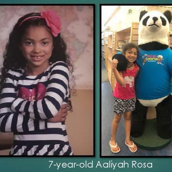 Deux photos juxtaposées dont la première illustre une jeune fille qui sourit et l'autre une jeune fille dans une bibliothèque avec un ourson en peluche géant.