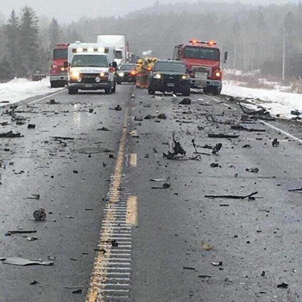 Scène d'un accident de la circulation sur la route 17 à l'est de Sudbury.