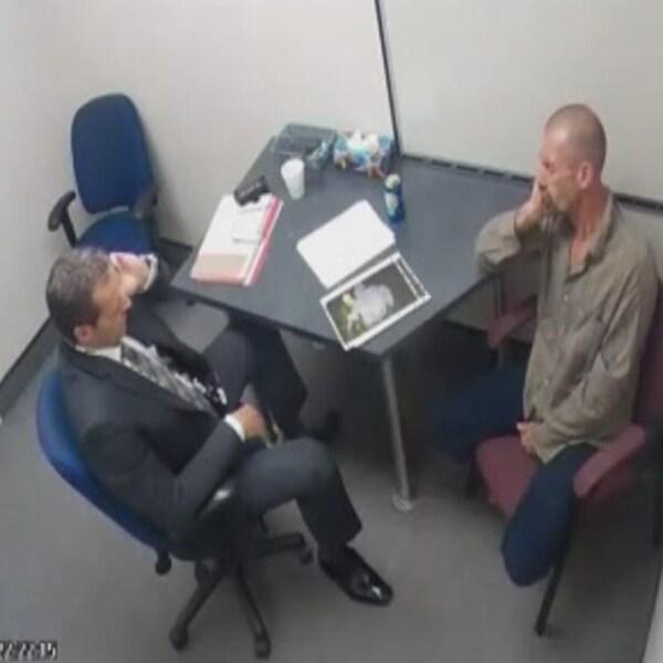 Capture d'écran de l'interrogatoire d'Alain Audet par un enquêteur du Service de police de la Ville de Québec.