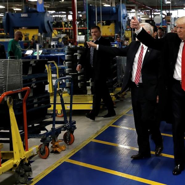Donald Trump a visité l'usine de Carrier à Indianapolis le 1er décembre 2016.
