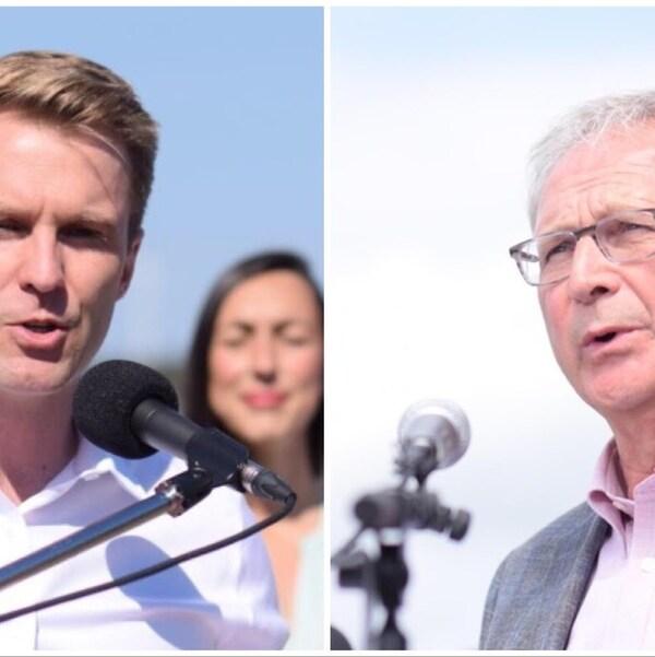 Le chef libéral Brian Gallant et le chef progressiste-conservateur Blaine Higgs lors de conférences de presse.