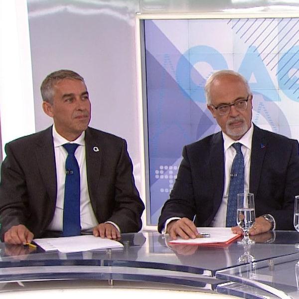 Les quatre candidats des principaux partis assis sur le plateau de RDI économie.
