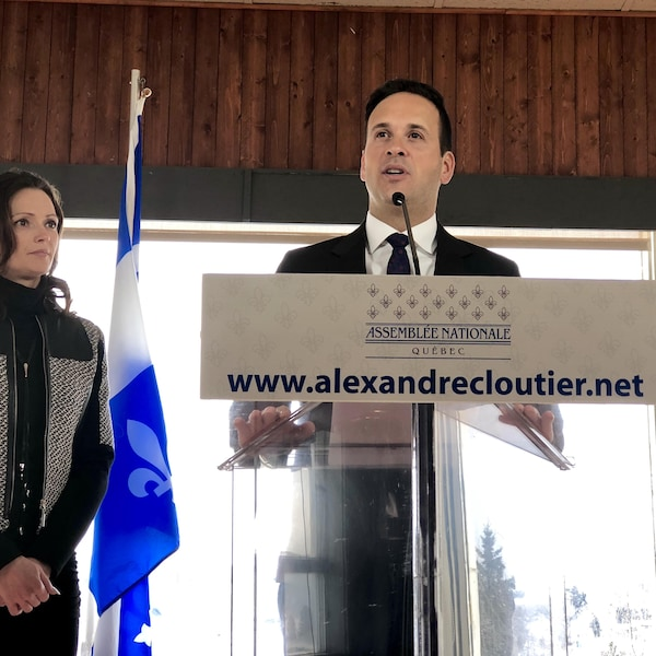 Le député du Parti québécois Alexandre Cloutier en conférence de presse.