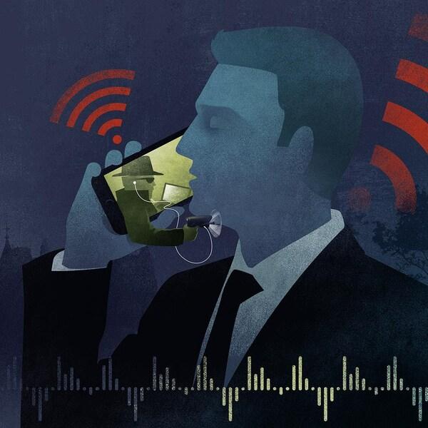 Illustration d'un député dont le téléphone est intercepté par des pirates informatiques