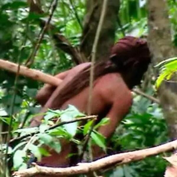 Un homme indigène dans la jungle.