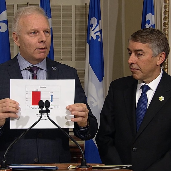 Jean-François Lisée, chef du Parti québécois et Nicolas Marceau, porte-parole du PQ en matière de Finances