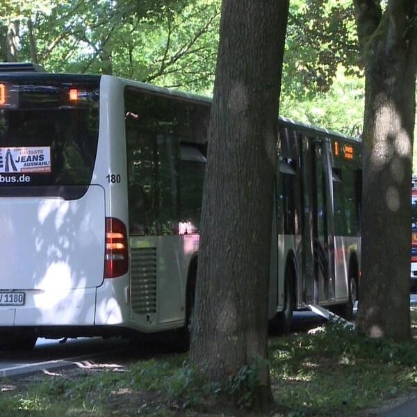 Un autobus arrêté sur le bord de la voie publique