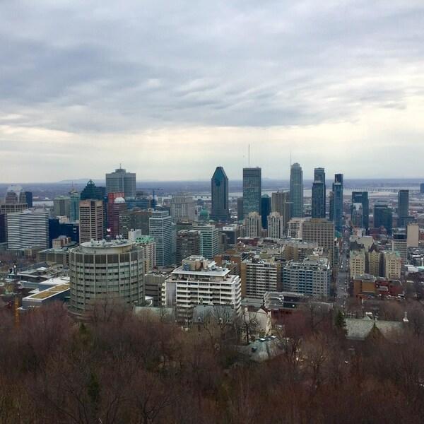 Le centre-ville de Montréal, vu du sommet du mont Royal.