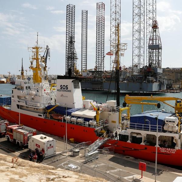 Le navire humanitaire Aquarius dans le port de La Valette, sur l'île de Malte.