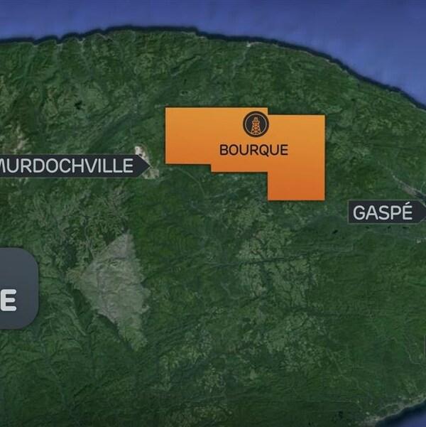 La carte de la Gaspésie qui montre que le site Bourque se situe entre Murdochville et Grande-Vallée.