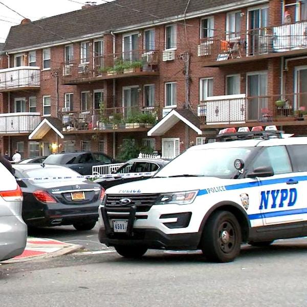 Des voitures dont celle de policiers sur une rue résidentielle.