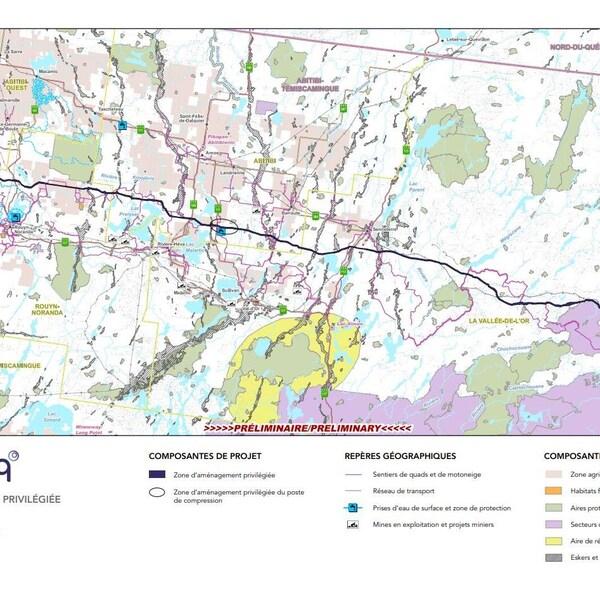 Une carte montre où passerait le projet de Gazoduq.