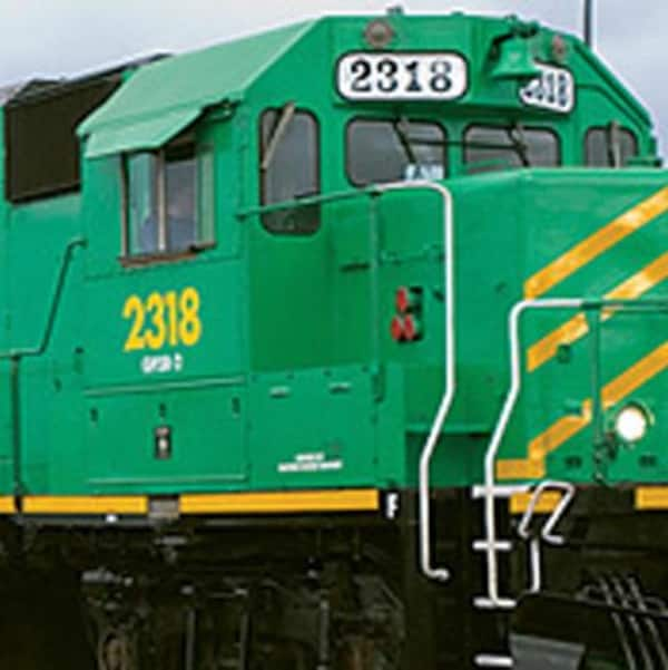 Un train de la NB Southern Railway, une filiale de J.D. Irving.