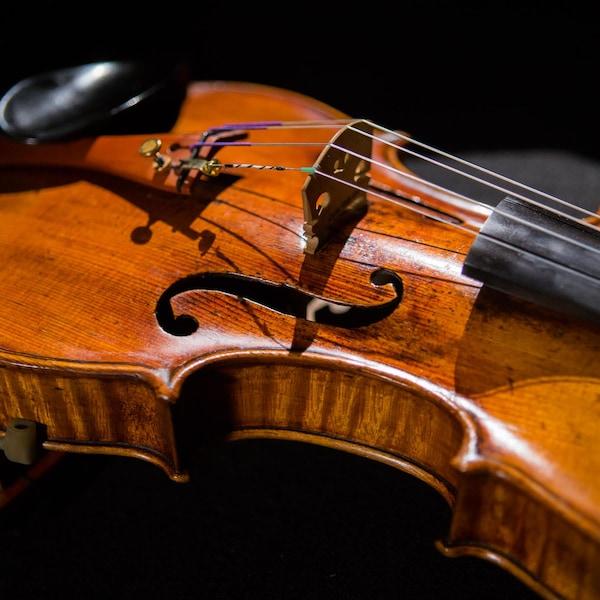 Gros plan du violon Montagnana 1715, prêté à Jonathan Chan par le Conseil des arts du Canada