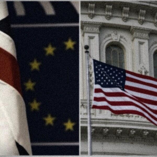 Montage photo incluant les drapeaux du Royaume-Uni, de l'Union européenne et des États-Unis