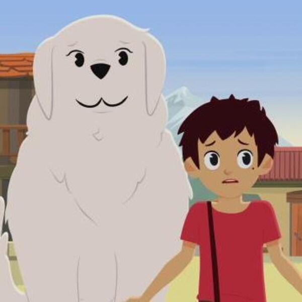 La chienne sourit, le petit garçon semble inquiet