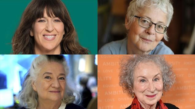 Marie-Louise Arsenault, Margaret Atwood, Marie Laberge et Jocelyne Saucier sourissent à la caméra.