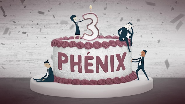 Illustration montrant quatre petits personnages près d'un gâteau d'anniversaire sur lequel est écrit Phénix.