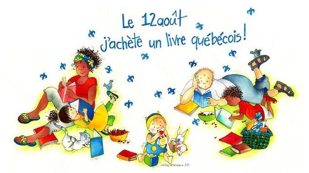 On voit plusieurs dessins d'adultes et d'enfants qui lisent.