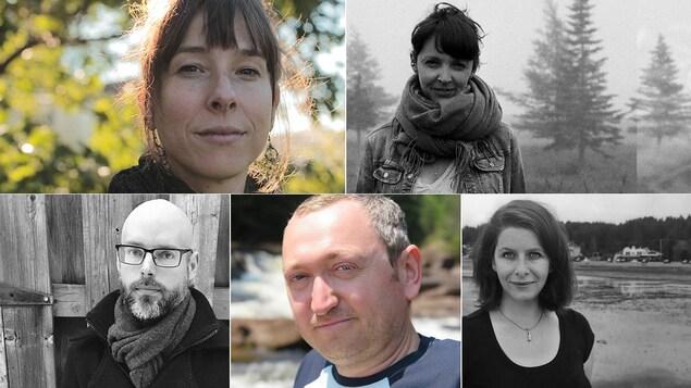 Montage de 5 portraits de poètes : Anne-Marie Desmeules, Kristina G. Landry, Mario Brassard, Mathieu Simoneau, Marie-Hélène Voyer