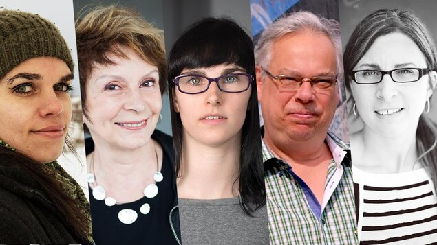 Montage photo des portraits des 5 finalistes du Prix de la nouvelle Radio-Canada 2019 : de gauche à droite Annie Rousseau, Fanny Fennec, Alex Thibodeau, Jacques Lemaire et Maude Poissant