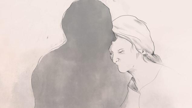 Un dessin d'une femme qui repose sa tête dans le creux du cou d'un homme dont le profil est noirci.