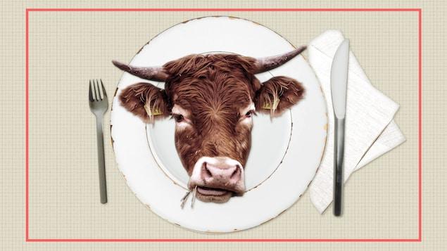 La reproduction de l'image d'un boeuf dans une assiette.